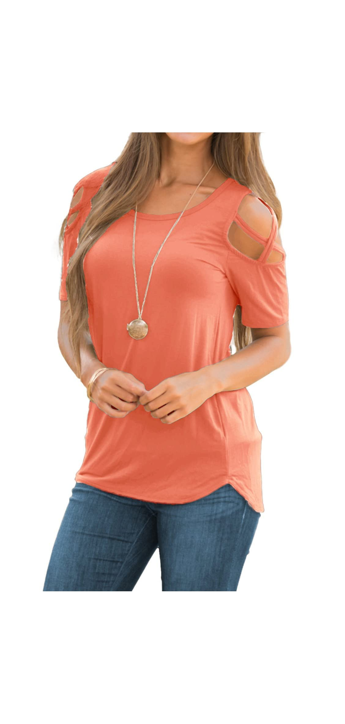 Womens Loose Strappy Cold Shoulder Tops Basic T Shirts