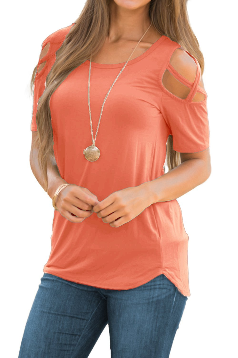 Adreamly Women's Casual Summer Short Sleeve Loose Strappy Cold Shoulder Tops Basic T Shirts Blouses Coral Pink Medium