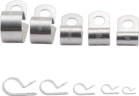 Hseamall Lot de 90 colliers de serrage en acier inoxydable 304 avec rev/êtement en vinyle 6 tailles 6-16 mm