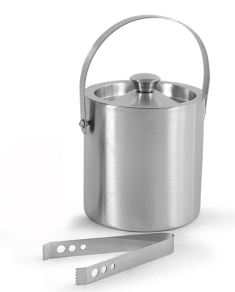 King International 100% Stainless Steel Double Walled Insulated Ice Bucket with Tong | 1750 ml | Bar Tools | Bar Accessories - Ideal for Party Get together and Gifting KI-IB-01-012