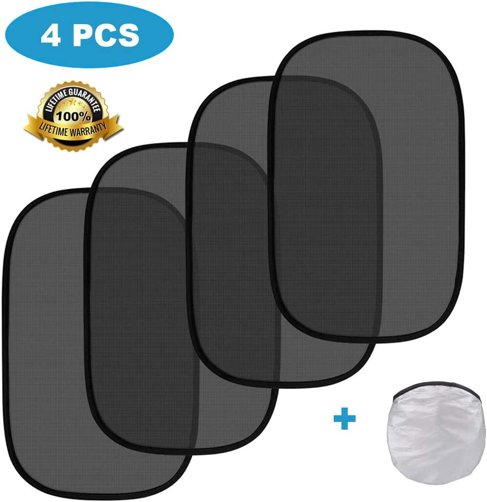 4 Pack Glare and UV Rays Car Sun Shade for Baby Auto Side Sunshade Protector Cling Sunshades for Car Window to Protect Baby Kid Pet from Sun Kitbest Car Window Shade