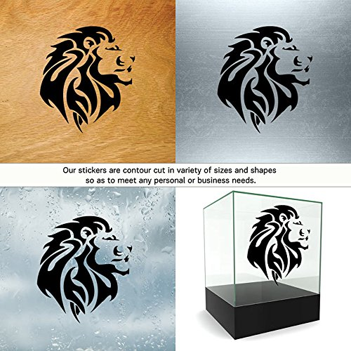 Lions Colors & Sizes Variations Vinyl Stickers Decals Vinyl Lion Tribal Tattoo Design Doors Garage Home Window (5 X 4,42 in.) Vinyl Color Black