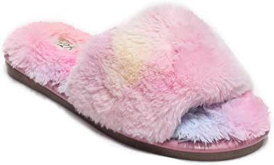 Womens Rainbow Fluffy Fur Slippers Open Toe Sliders Ladies Slip On Pumps Shoes