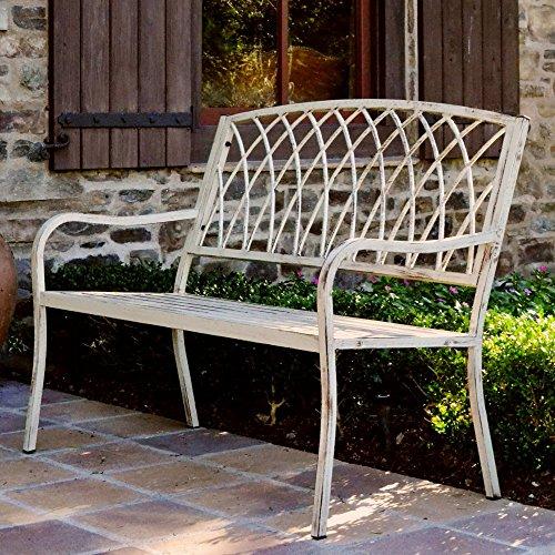 Innova Lancaster Vintage White Steel Bench