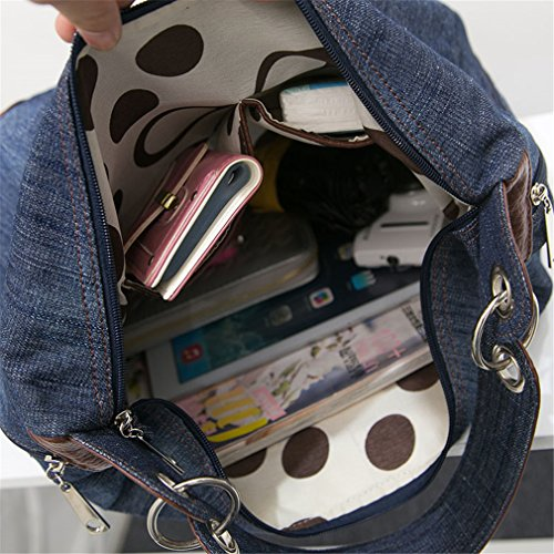 Shoulder Ladies Ladies Bag 2 Tote Shoulder Denim Handbag Bag Jeans Big Handbag Blue Crossbody xqwHFxpPa