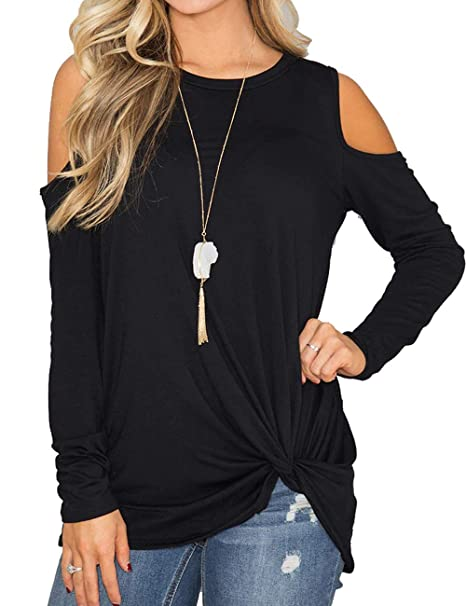 216f96318f2 Esther Womens Casual Long Sleeve Twist Knot Front Tops Cold Shoulder Blouse  Loose Fit Shirt (