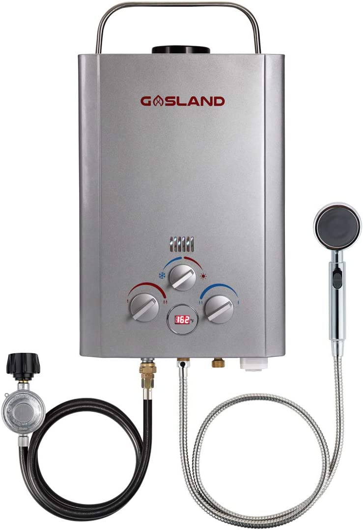 Tankless Water Heater, GASLAND Outdoors BE158S 1.58GPM 6L Portable Gas Water Heater, Energy-efficient Propane Water Heater for RV Camping Cabin Barn Boat, Overheating Protection, Easy Installation