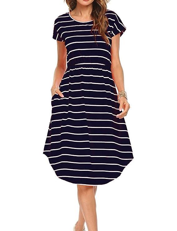Qearal Women Summer Short Sleeve Striped Loose Swing T-Shirt Midi Dress with Pockets (Dark Blue, L)