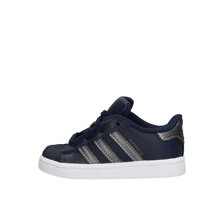 adidas Superstar Sneakers Baby Schuhe Unisex Blau mit grauen Streifen