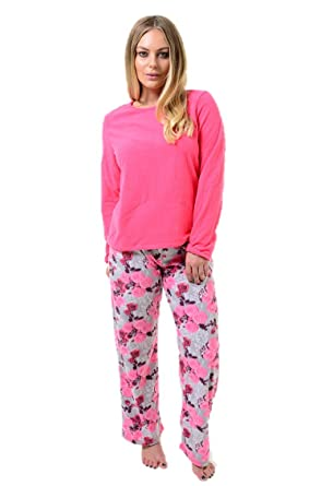 db10075ae305 Womens Super Soft Fleece Pyjama Set Plain Ladies PJ S Winter Warm Check  Nightwear ...