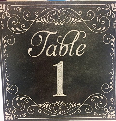 Tent Table Number Cards, Printed on Text, Table 1-20. Chalk, text, (Tables 20 1)