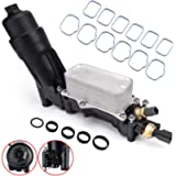 Engine Oil Cooler Filter Housing Adapter Assembly w/Intake Manifold Gaskets Lower & Upper Gasket Plenum Set, Temperature…