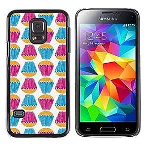 Paccase / SLIM PC / Aliminium Casa Carcasa Funda Case Cover para - Teal Purple White Sweets Baking - Samsung Galaxy S5 Mini, SM-G800, NOT S5 REGULAR!