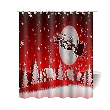 Gwein Christmas Fligh Christmas Santa Claus Red Bath Home Decor of  Waterproof Bathroom Polyester Fabric Mildew. Amazon com  Gwein Christmas Fligh Christmas Santa Claus Red Bath