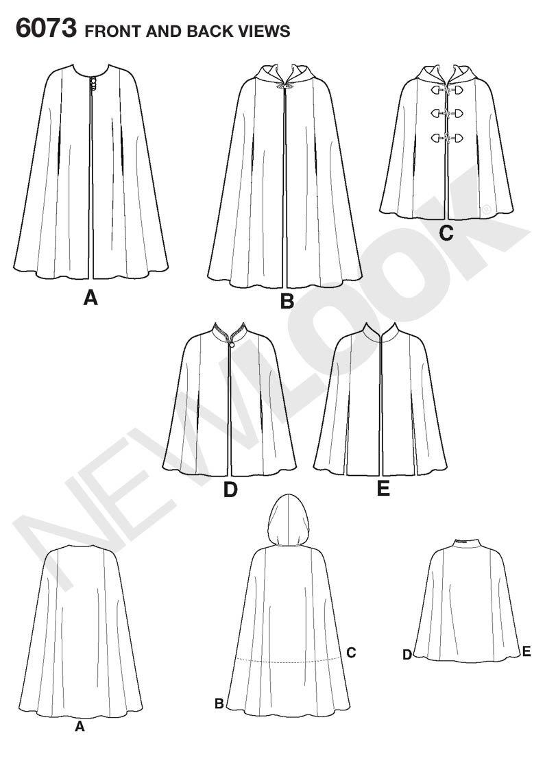 New Look 6073 - Patrón de costura para capa de mujer (tallas XS-XL ...