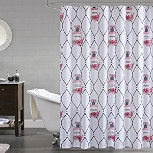 Comfort Spaces Water-Repellent Shower Curtain – Printed - Confidence Pink Shower Curtain – Perfume Bottle Pattern on White – 72 x 72 inches by