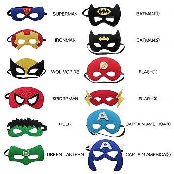 MiniMochi Máscara de Superhéroe, Máscara de Fieltro Mitad Máscara de Cosplay Cumpleaños con Cuerda Elástica Máscaras de Ojos para Niños Adultos ...