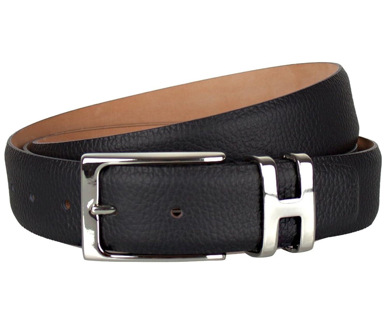 Leder-Gürtel für Herren in Schwarz: 100 % Wasserbüffelleder, Gürtel-Schnalle nickelfrei, hergestellt in Handarbeit, ideal als Jeans-Gürtel, Anzug-Gürtel - Vollleder Hosen-Gürtel