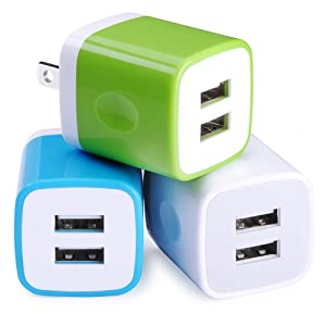 Wall Charger, Sicodo 3-Pack Dual Port USB Home Travel Wall Charger Plug Compatible with iPhone X,8,7 Plus,6 Plus, 6s Plus, Tablet, Samsung Galaxy S10,S10+,S9,S8, S7, S6 Edge, HTC, LG, Sony, and More