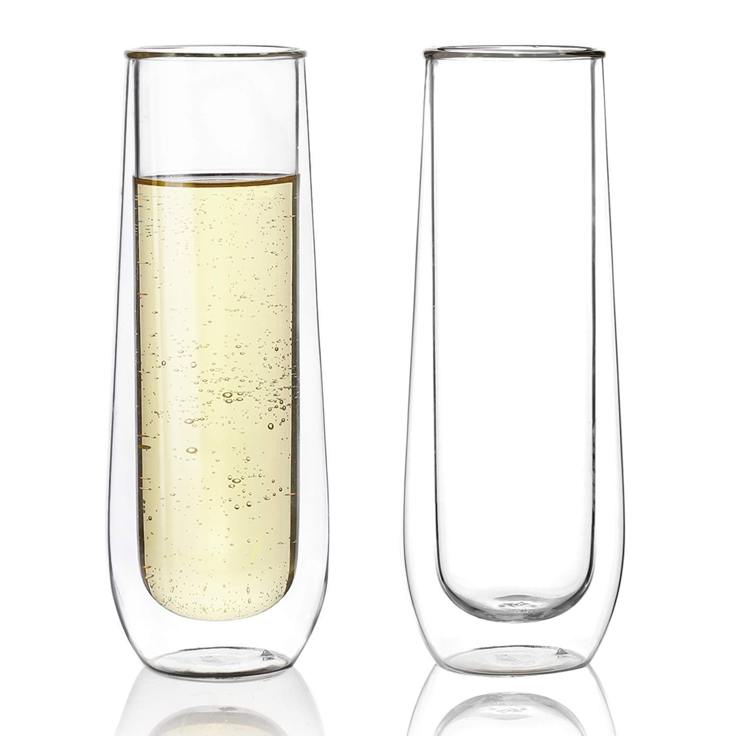 Sweese 4614 Stemless Champagne Flute Glasses Set of 2 — 6 oz Double Walled Stemless Glass Flute, Perfect for a Bridal Shower, Wedding Day, Mimosa Party