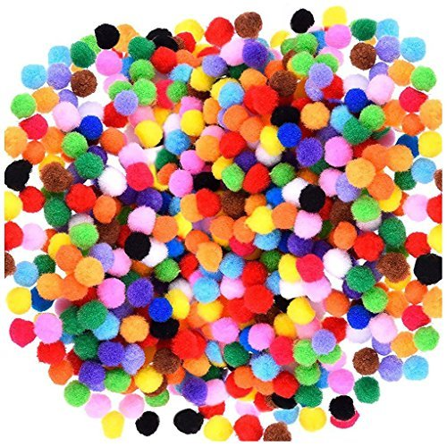 Acerich 2000 Pcs 1cm Assorted Pompoms Multicolor Arts and Crafts Fuzzy Pom Poms Balls for DIY Creative Crafts Decorations