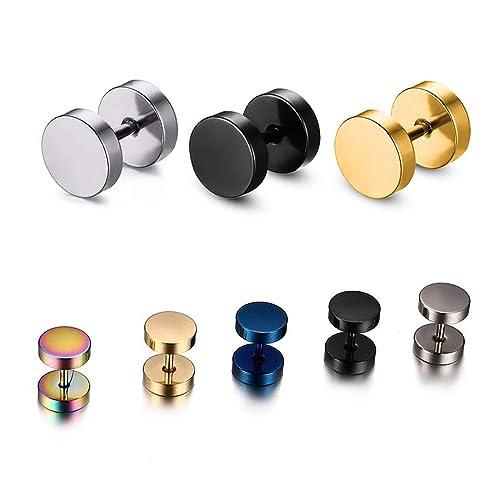 8e896361f Amazon.com: Fashion Black Silver Stainless Steel Earrings Women ...