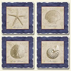 Highland Graphics, White Sand Blue Sea Seashell, Assorted Absorbent Coasters Set of 4
