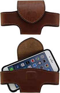 product image for Medium Brown Heavy Duty Leather Horizontal Cell Holster Case with Magnetic Closure - Made in USA, X-Large