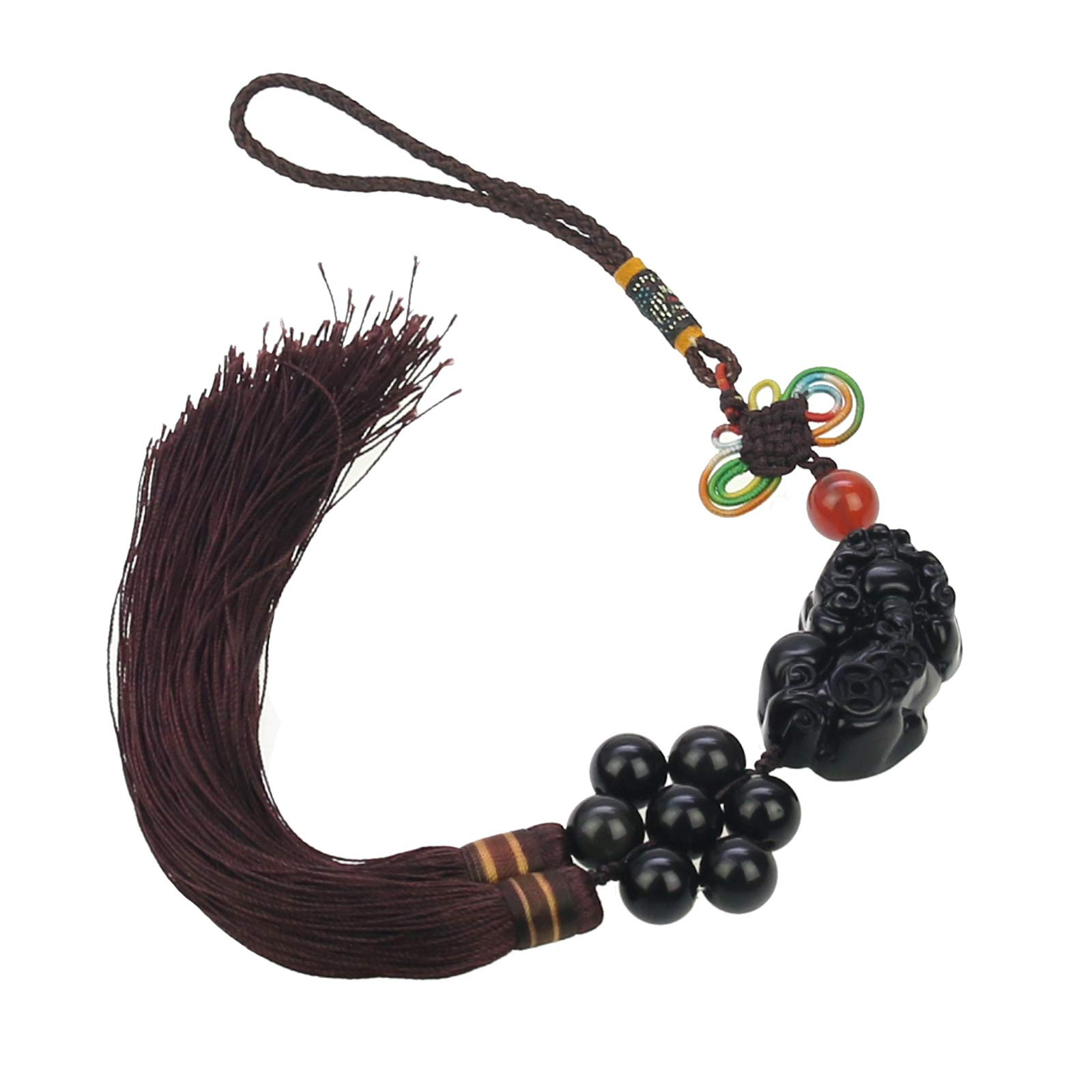 lieomo Feng Shui Obsidian Pi Yao (Pi Xiu) Charm Hanging Decor,Attract Wealth and Good Luck,a Pouch Included
