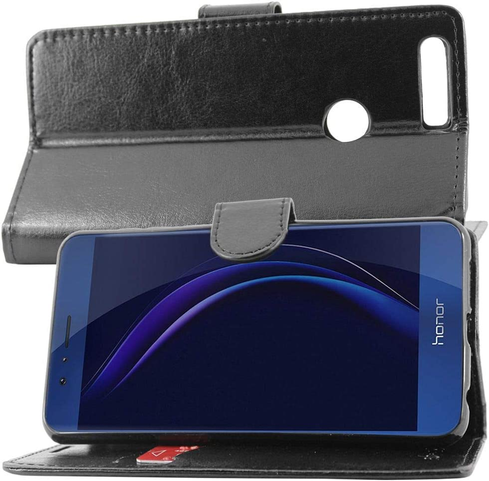 compatible with Huawei Honor 8 Case Wallet Case PU Leather Flip Cover with Card Slot Holder Honor 8: 145.5 x 71 x 7.5mm, 5.2 Black Tempered Glass Screen Protector ebestStar