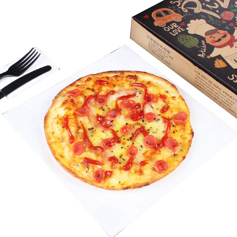 Papel para hornear, caja de pizza, almohadilla de grasa blanca, papel para pizza 16 pulgadas -50 hojas: Amazon.es: Hogar