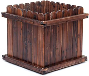 Planting Box Planting Box Outdoor Square Garden Bed Kit Rust-Proof Metal Screws Drainage Hole Planting Container, 2 Sizes (Color : Brown, Size : 42X42X38CM)