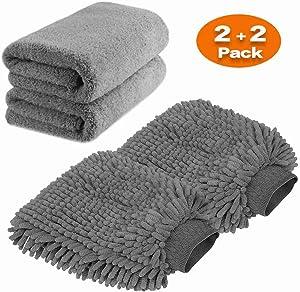 Large Size Car Wash Mitt - Premium Chenille Microfiber Wash Glove and Microfiber Towels - Lint Free - Scratch Free (2X Towels + 2X mitt)