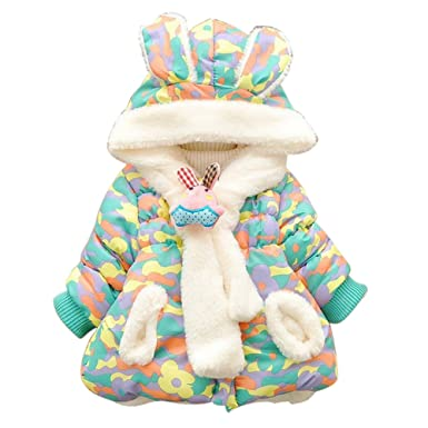 ec8ef53bc46c Amazon.com  Baby Girls Infant Winter Rabbit Hood Outerwear Hoodie ...