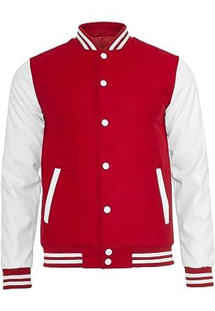 URBAN CLASSICS Oldschool College Jacket, redwhite, Gr. XXL