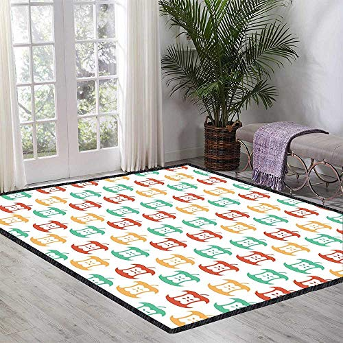 Apple Floor Rug Apple Core Pattern in Retro Colors Eaten Food Fruit Organic for Various Areas 47.24 Inch x 59.05 Inch Dark Coral Pale Orange Sea ()