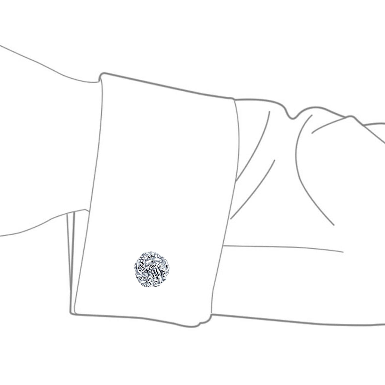 Solido Facciata Nodo Tessuto Intrecciato di Supporto Fisso Shirt Gemelli per Uomini Argento 925 Dono di Graduazione