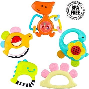Amazon.com: iPlay, iLearn 5 dinosaurios sonajeros para bebé ...