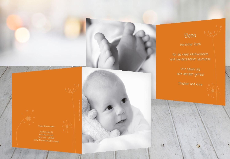 Kartenparadies Danksagung für Geburt Baby Dankeskarte abstrakte Blaumen, hochwertige Danksagungskarte Baby inklusive Umschläge   100 Karten - (Format  145x145 mm) Farbe  Orange B01N16WDEV | Ausgezeichneter Wert  | Überlegene Qualität  | Günsti
