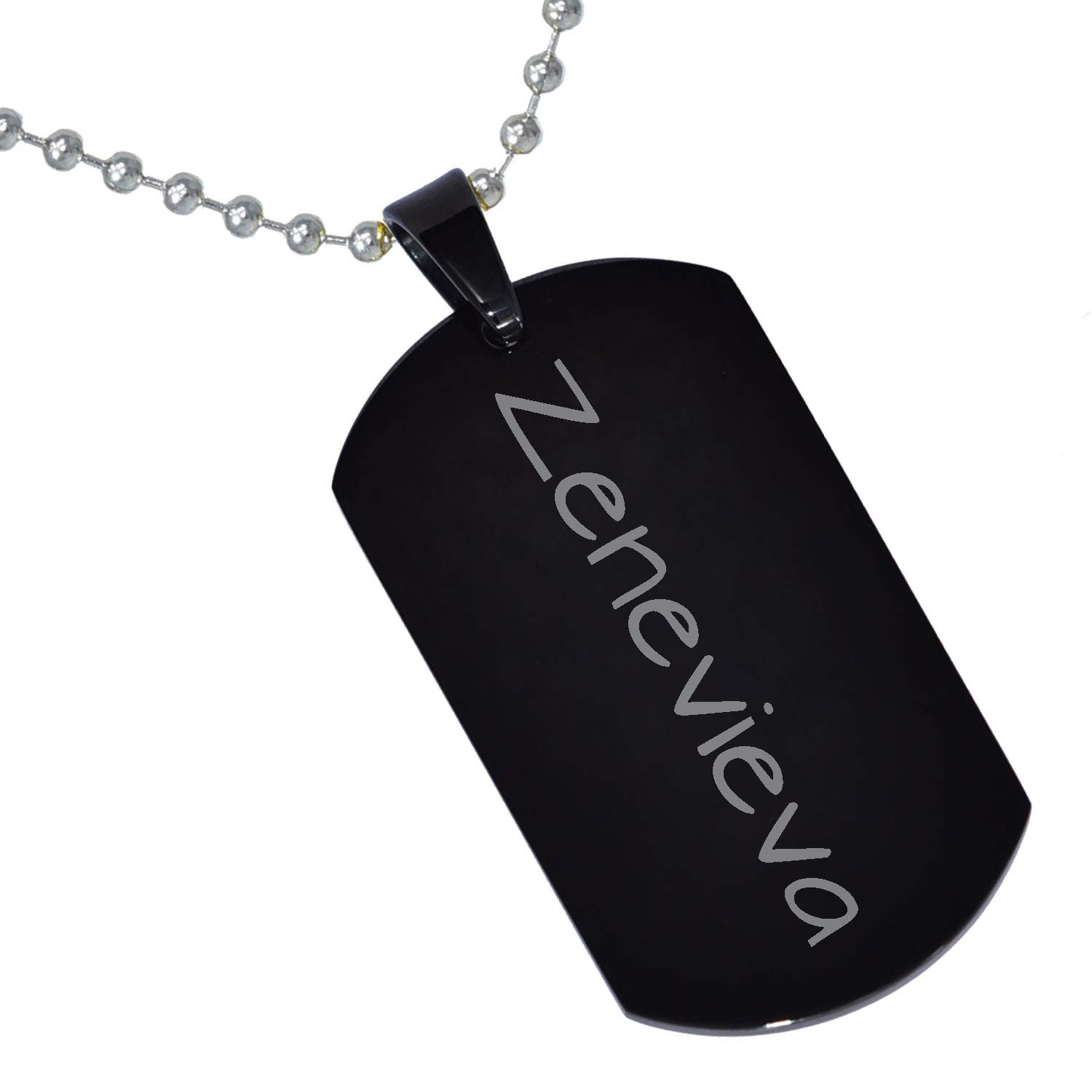 Stainless Steel Silver Gold Black Rose Gold Color Baby Name Zenevieva Engraved Personalized Gifts For Son Daughter Boyfriend Girlfriend Initial Customizable Pendant Necklace Dog Tags 24 Ball Chain