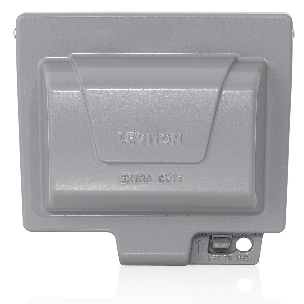 Leviton IUM1H-GY Extra Duty Outlet Hood 1-Gang GFCI or Duplex Receptacle or Single Receptacle Horizontal Mount