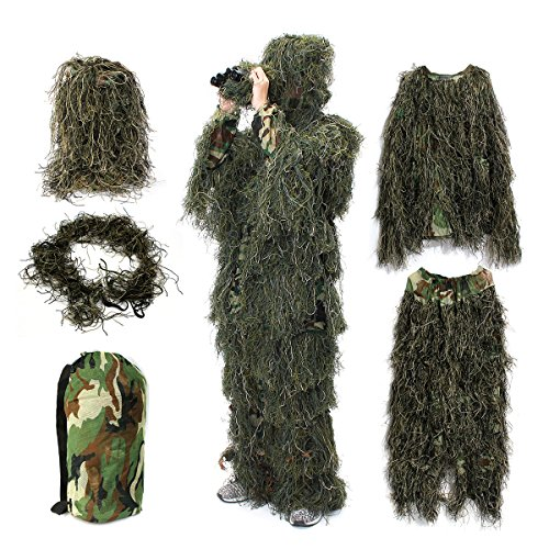Ghillie Suit,OUTERDO Camo Suit Woodland and Forest Design Military Leaf Hunting and Shooting Accessories Tactical Camouflage Clothing Free Size for Airsoft,Wildlife Photography Halloween or Christmas ()