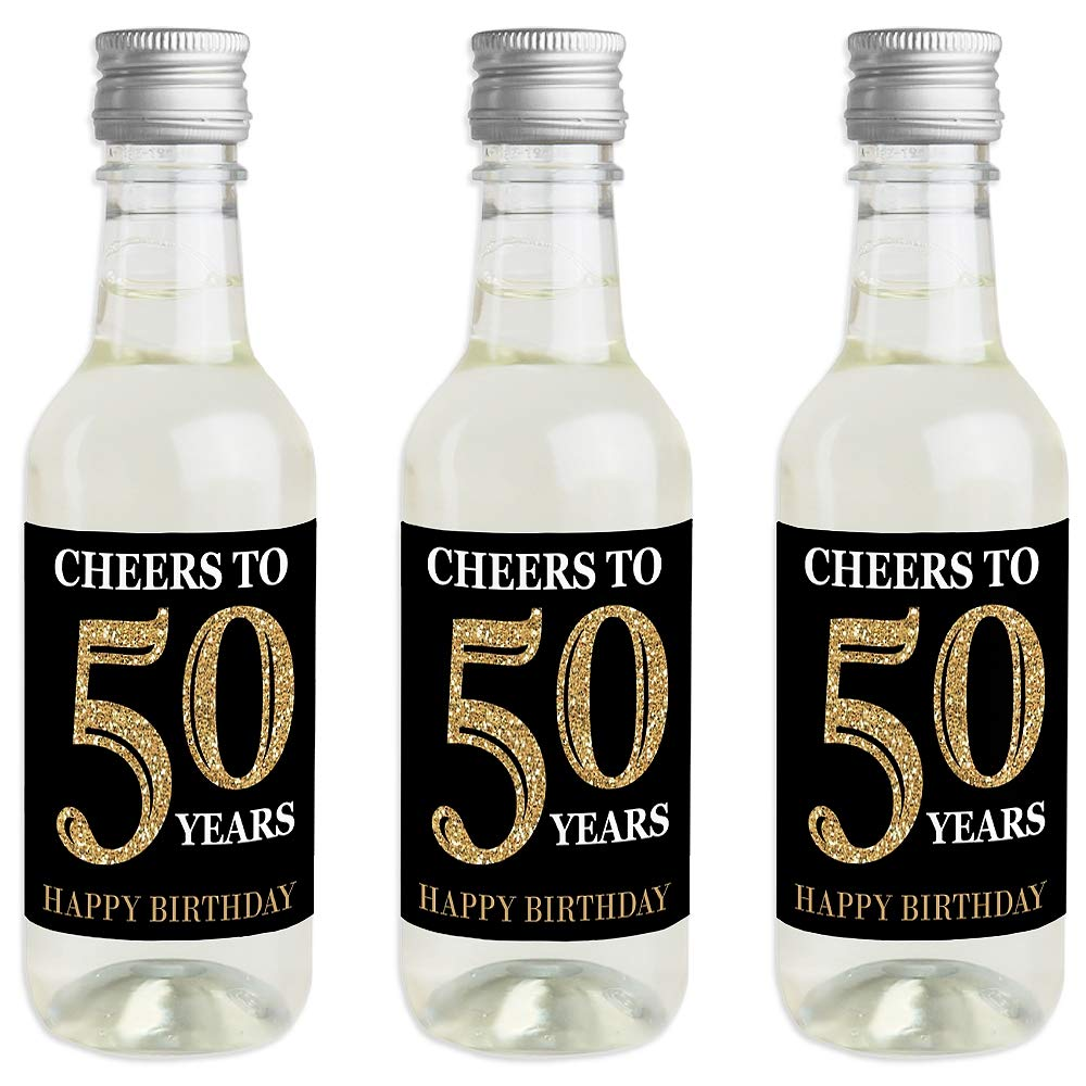 Adult 50th Birthday Birthday Party Favor Gift for Women and Men Set of 16 Gold Mini Wine and Champagne Bottle Label Stickers