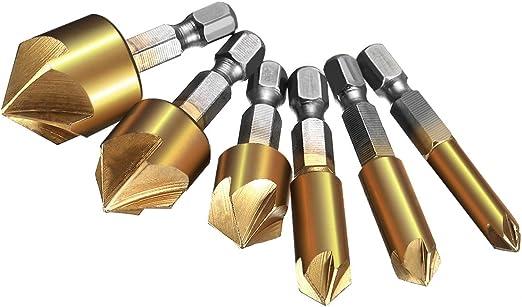 6PC Flute Countersink Drill Bit Set Counter 6-19mm Sink Chamfer Cutter AL