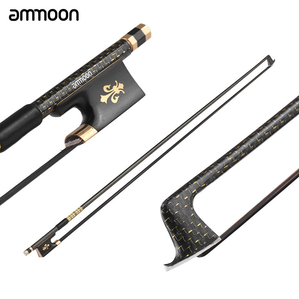 ammoon 4/4 Violin Fiddle Bow Well Balanced Golden Braided Carbon Fiber Round Stick Ebony Frog AAA Mongolia Black Horsehair