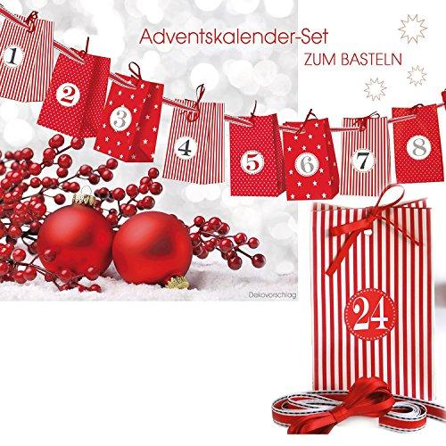 Adventskalender zum Basteln und Selbstbefüllen 30teilig mit 24 Tüten und Zahlenaufkleber von 1-24 ...