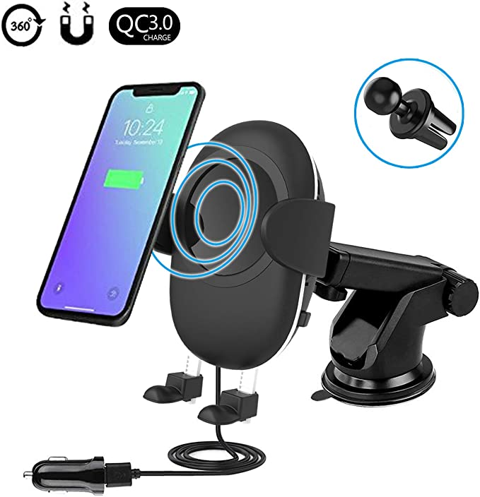 Fast Wireless Car Charger with Suction Mount for Windshield Dashboard and Air Vent Phone Holder for Samsung Galaxy Note 8 S8(Plus) Standard Wireless