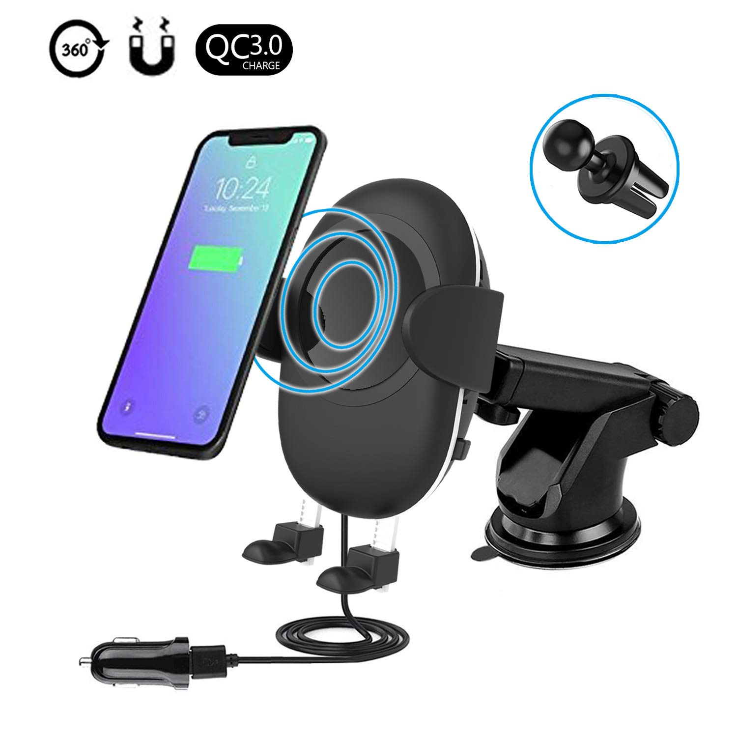 Spedal Wireless Car Charger, Qi Fast Charger Air Vent Phone Holder Car Mount Compatible with Samsung Galaxy Note 8/S8/S8 Plus and All Qi Enabled Devices by Spedal