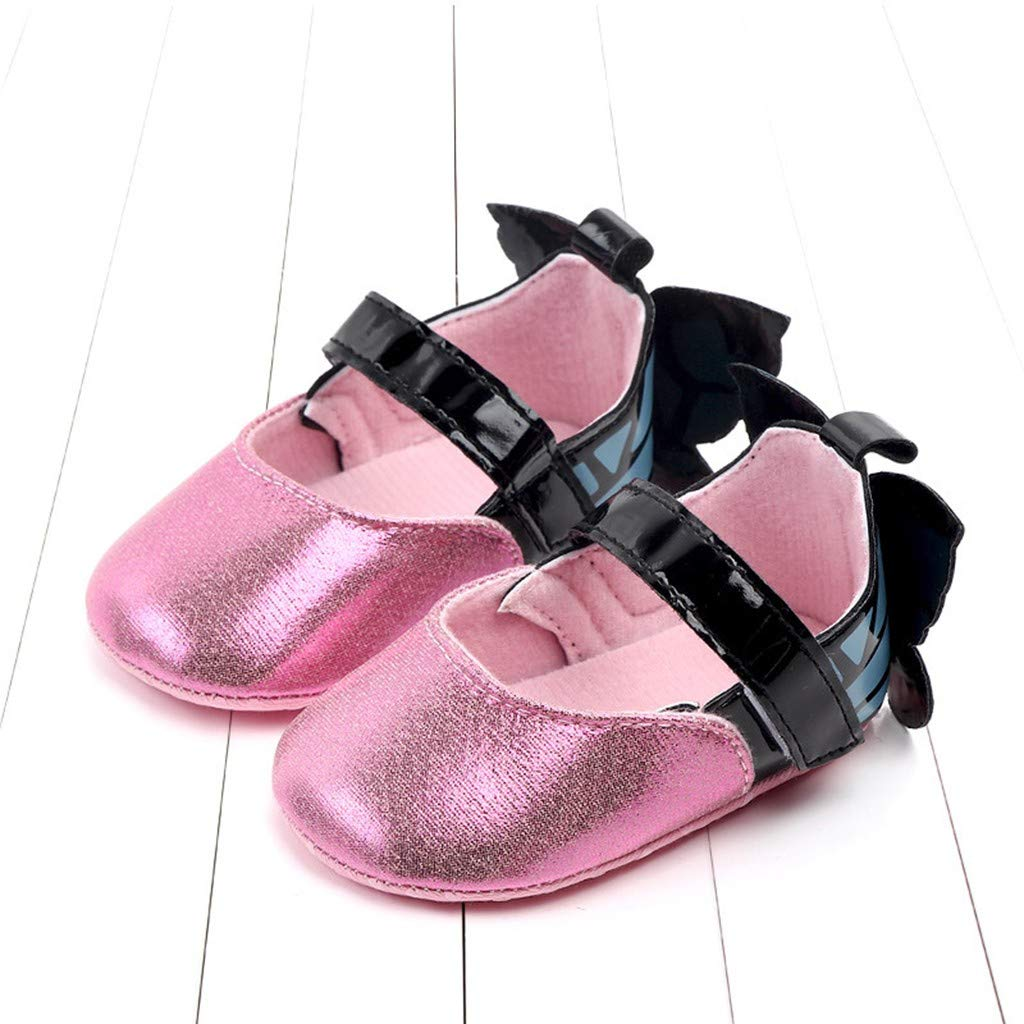 Sumen Baby Girls Flat Shoes Butterfly Cute Gold Anti-Slip First Walkers Soft Sole Shoe