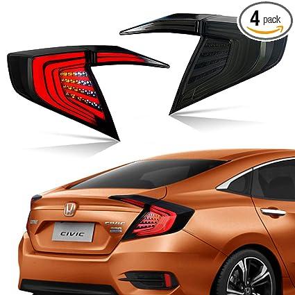 LED Tail Lights For Honda Civic 2016 2017 10th Gen Rear Lamps Assembly  Black Somked Lens